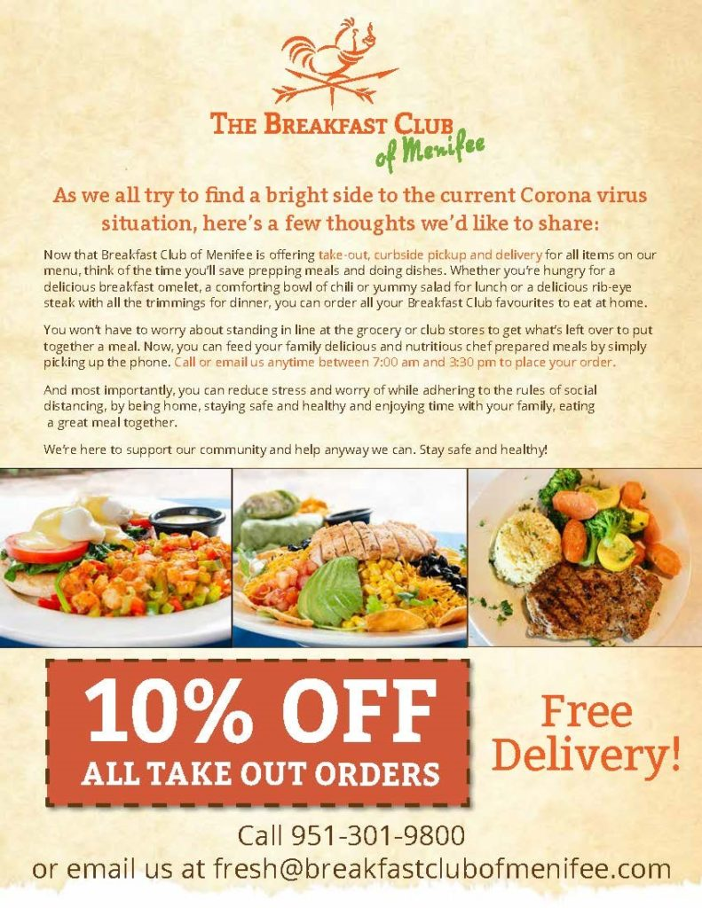 Breakfast Club 10% Off Take Out Orders